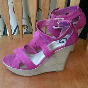 Purple and gold wedge sandals
